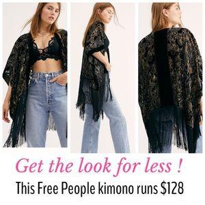 Black Velvet & Fringe Kimono Open Cardigan